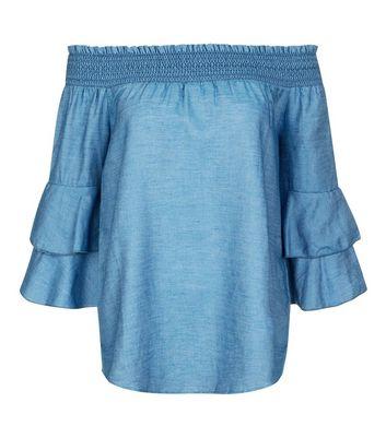 Blue Vanilla Blue Bardot Neck Frill Trim Top New Look