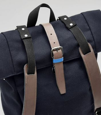 Navy Roll Top Backpack New Look