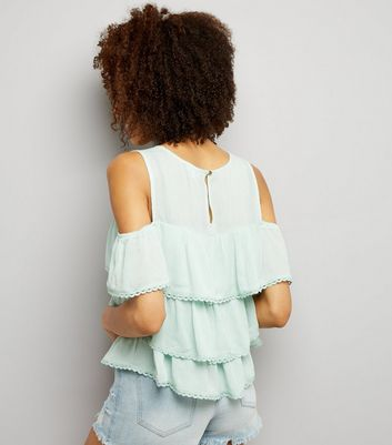 Blue Vanilla Mint Green Frill Trim Tiered Top New Look