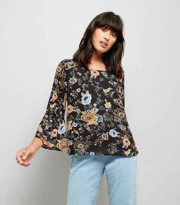 Blue Vanilla Black Floral Print Bell Sleeve Chiffon Top New Look