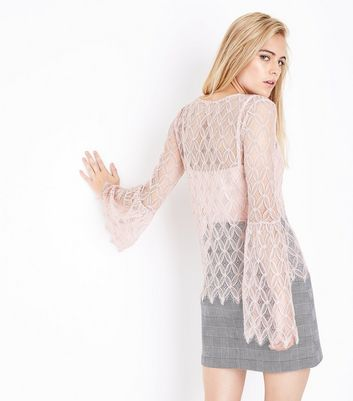Blue Vanilla Pink Lace Bell Sleeve Top New Look