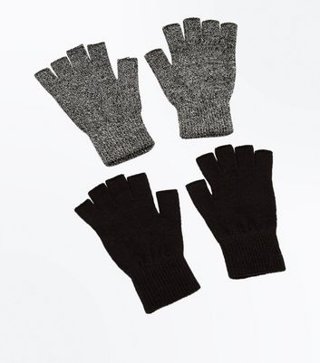 2 Pack Black Fingerless Gloves New Look