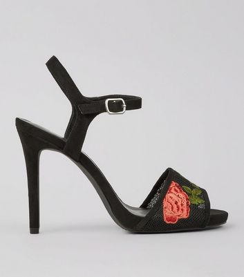 Wide Fit Black Rose Embroidered Heeled Sandals New Look