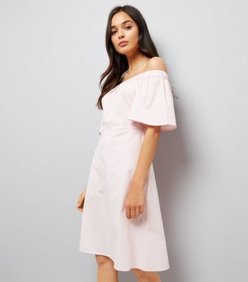 Shell Pink Bardot Neck Midi Dress New Look