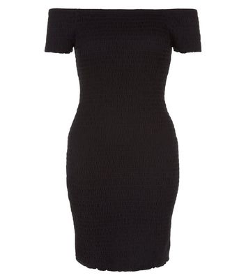 Black Shirred Bodycon Bardot Neck Dress New Look