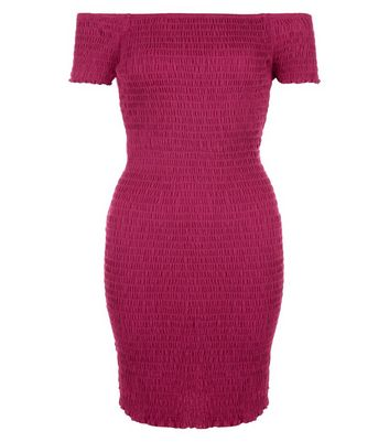 Deep Pink Shirred Bodycon Bardot Neck Dress New Look