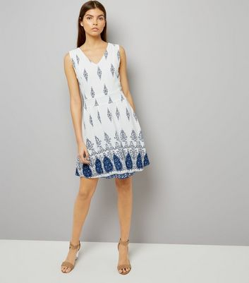 Mela White Abstract Print Dress New Look