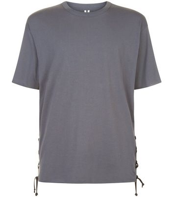 Dark Grey Lace Up Side T-Shirt New Look