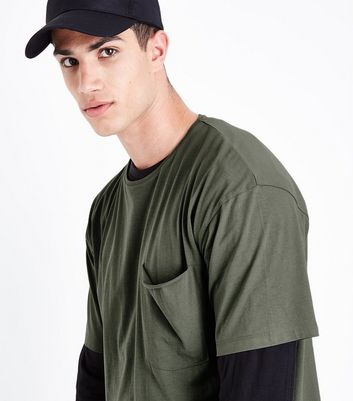 Olive Green Pocket Front Boxy T-Shirt New Look