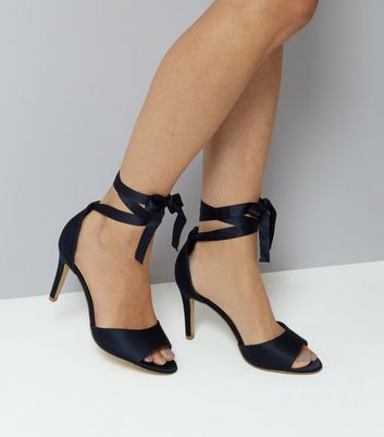Wide Fit Navy Satin Ankle Tie Heels New Look
