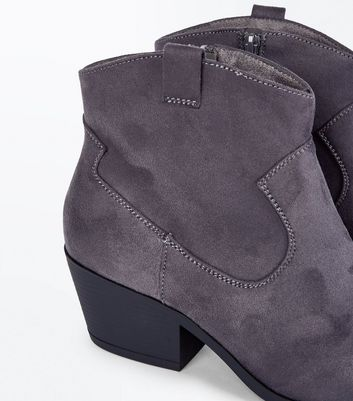 Wide Fit Grey Suedette Western Boots New Look