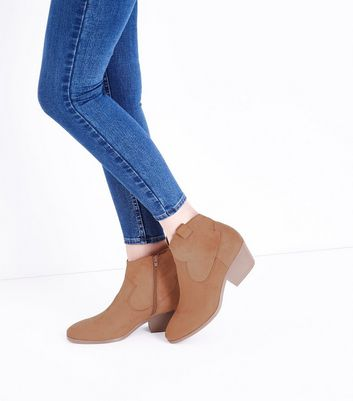 Wide Fit Tan Suedette Western Boots New Look