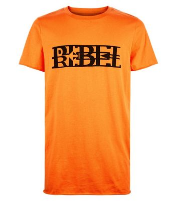 Orange Rebel Print T-Shirt New Look