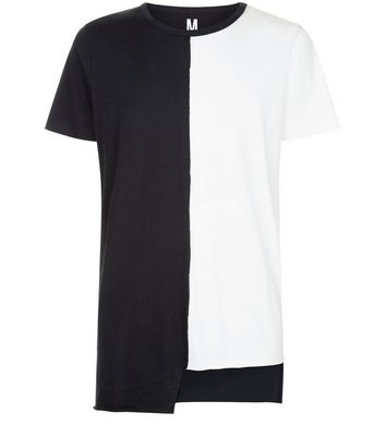 White Colour Block Asymmetric T-Shirt New Look