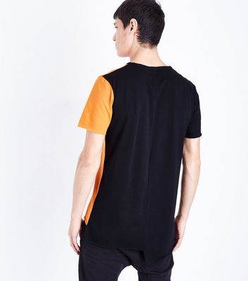 Orange Colour Block Asymmetric Hem T-Shirt New Look