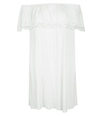 White Frill Trim Bardot Neck Dress New Look