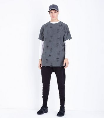 Grey Ripped T-Shirt New Look
