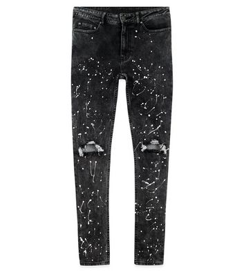 Black Ripped Paint Splatter Skinny Jeans New Look