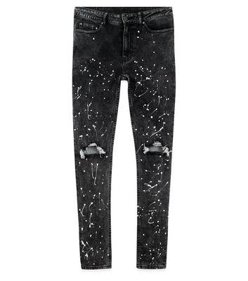 Black Ripped Paint Splatter Skinny Jeans New Look