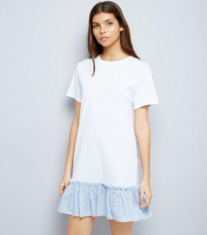 507a6fc5787 White Striped Peplum Hem T-Shirt Dress