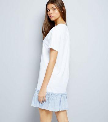 White Striped Peplum Hem T-Shirt Dress New Look