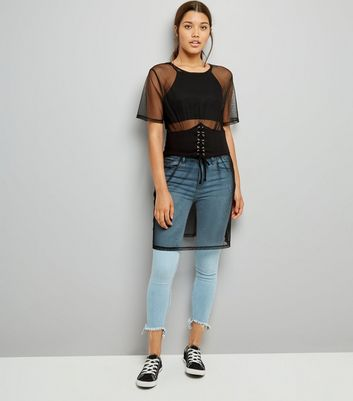 Black Corset Belt Mesh Dress New Look