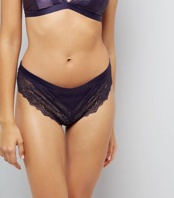 Navy Satin And Lace Brazilian Brief New Look