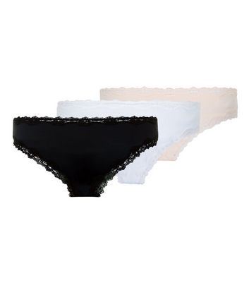 3 Pack Black White and Nude Pink Brazilian Briefs New Look