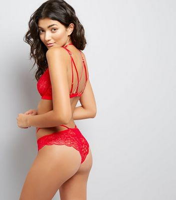 Red Strappy Lace Bralet New Look