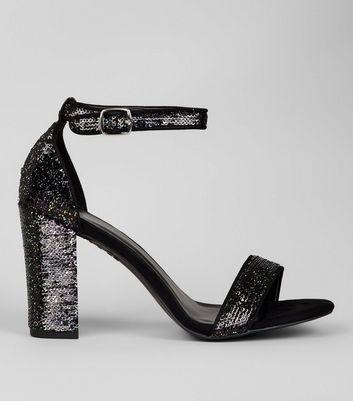 Black Sequin Block Heel Sandals New Look