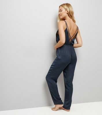 Navy Velvet Guipure Satin Pyjama Jumpsuit New Look