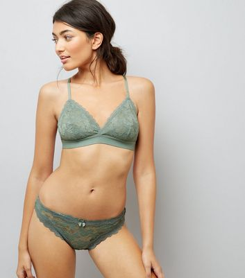Green Lace Trim Thong New Look