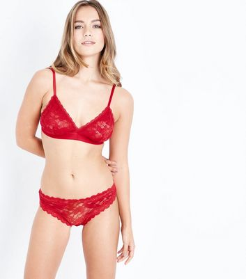 Red Floral Lace Trim Thong New Look