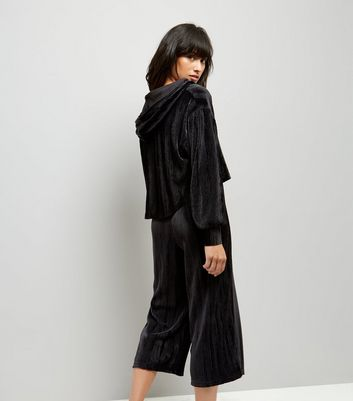Black Velvet Ribbed Pyjama Hoodie New Look