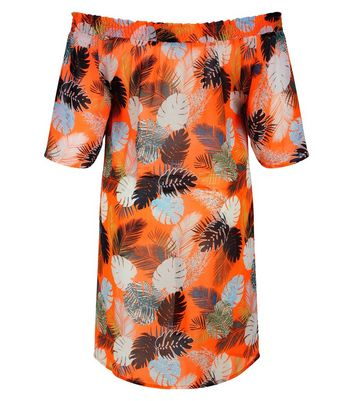 Orange Tropical Print Bardot Neck Beach Dress New Look