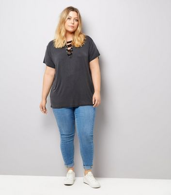 Curves Black Faded Lace Up Oversized T-Shirt New Look