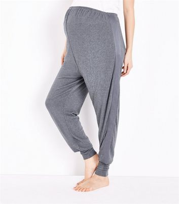 Maternity Dark Grey Satin Trim Pyjama Joggers New Look