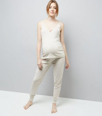 Maternity Jersey Satin Trim Pyjama Joggers New Look