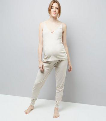 Maternity Jersey Satin Trim Pyjama Joggers New Look