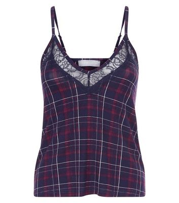 Purple Check Cami Pyjama Top New Look