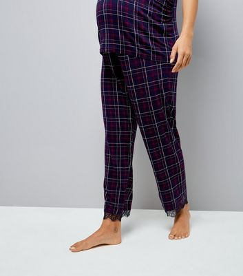 Maternity Purple Check Over Bump Pyjama Bottoms New Look