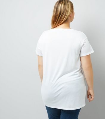 Curves White Lace Up T-Shirt New Look