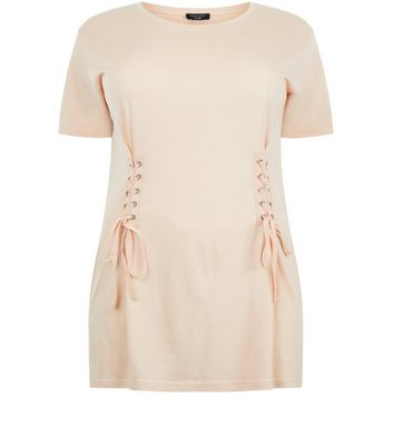 Curves Shell Pink Lace Up T-Shirt New Look