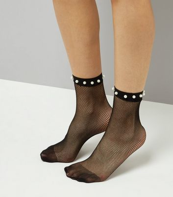 Black Pearl Embellished Fishnet Socks New Look