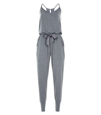 Dark Navy Satin Trim Jersey Pyjama Jumpsuit New Look