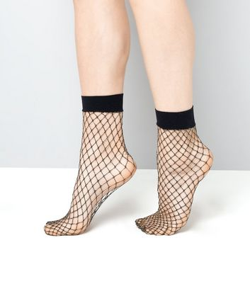 Black Metallic Fishnet Socks New Look