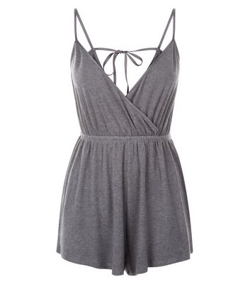 Dark Grey Satin Trim Pyjama Playsuit New Look