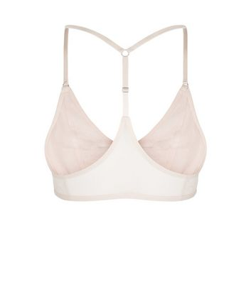 Shell Pink Lace Up Bralet New Look