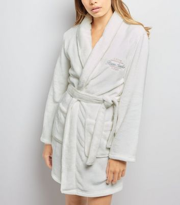 Cream Slogan Embroidered Robe New Look