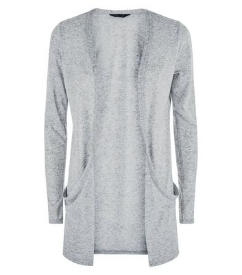 Grey Fine Knit Boyfriend Cardigan New Look